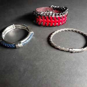 3 Leather and metal bracelets
